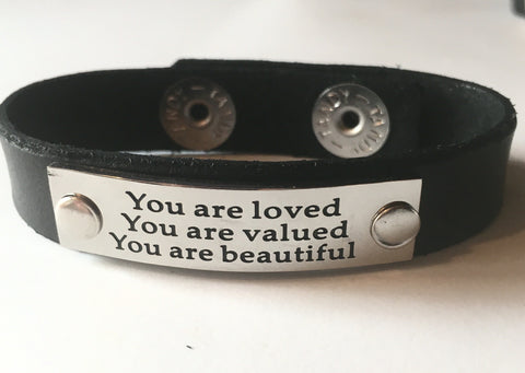 Black Leather Bracelet Inspirational Saying I - Celebrate Local, Shop The Best of Ohio