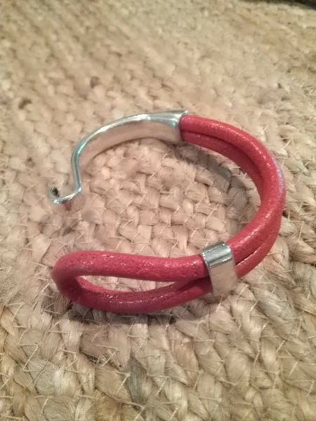 Italian Leather and Silver Cuff Bracelet Red