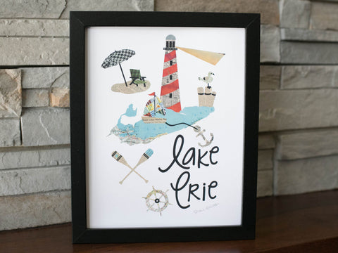 Lake Erie Lighthouse Vintage Print 11 x 17 - Celebrate Local, Shop The Best of Ohio