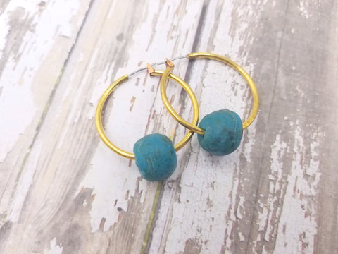 Dark Aqua Recycled Glass Hoops - Celebrate Local, Shop The Best of Ohio