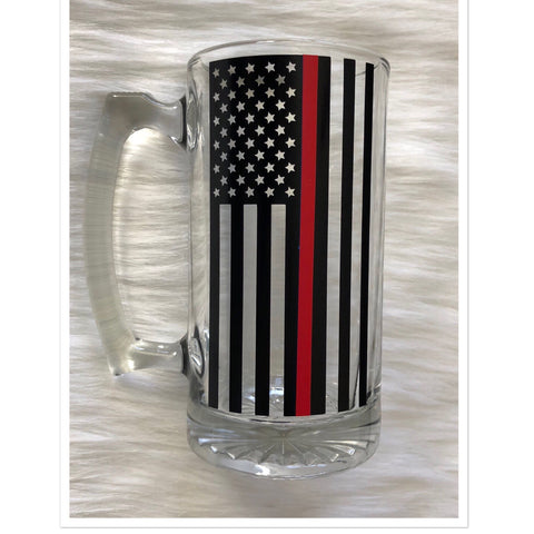 Thin Red Line Firefighter USA Flag Beer Mug - Celebrate Local, Shop The Best of Ohio