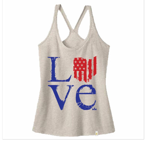 Ohio Love Stars and Stripes Tank T-Shirt - Women - Celebrate Local, Shop The Best of Ohio