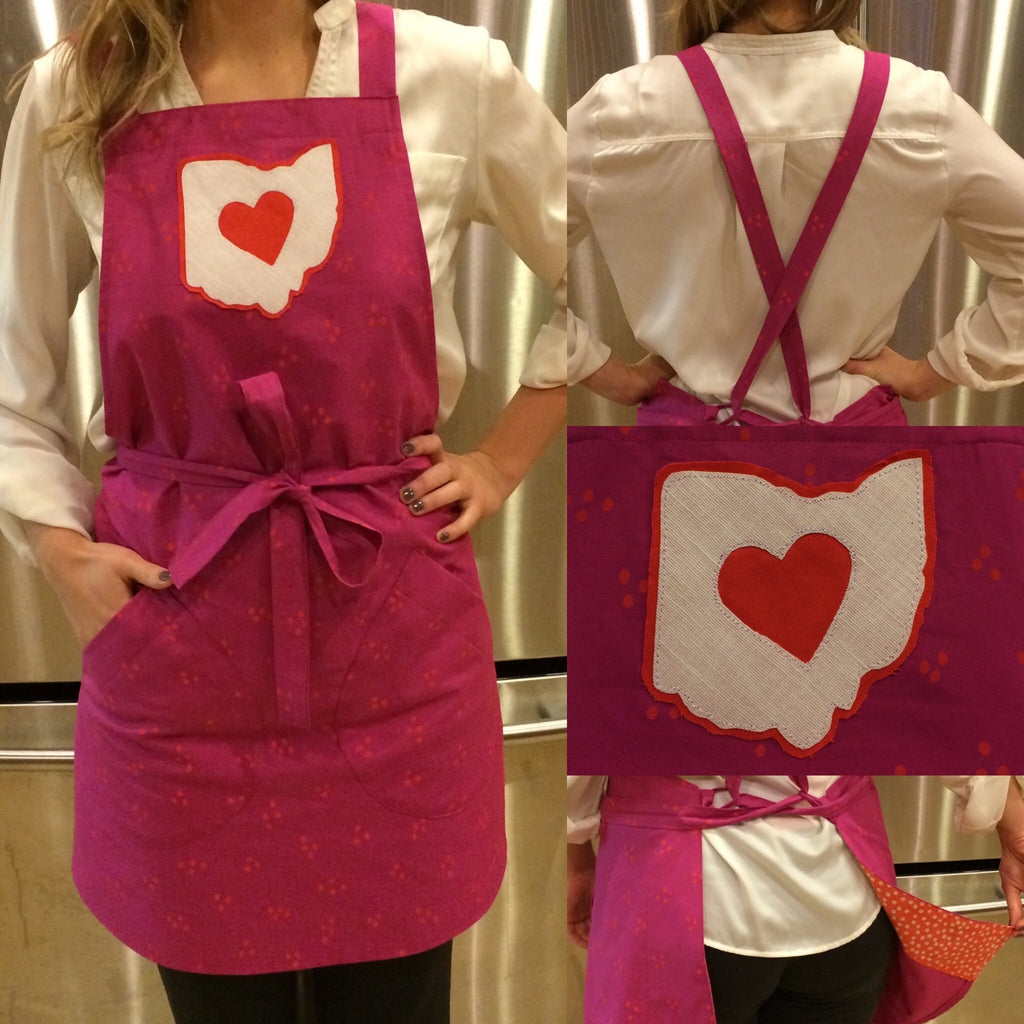 Love Ohio Heart Apron - Celebrate Local, Shop The Best of Ohio