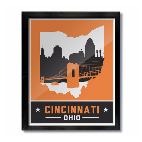 Cincinnati Skyline Orange and Black Print - Celebrate Local, Shop The Best of Ohio