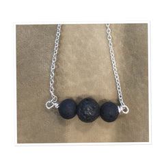 Triple Lava Bead and Silver Necklace