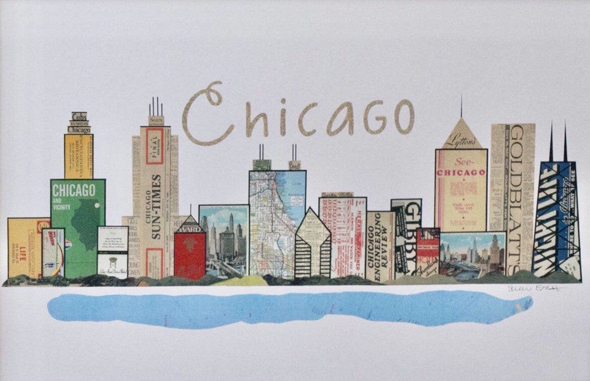 Chicago Skyline Vintage Print