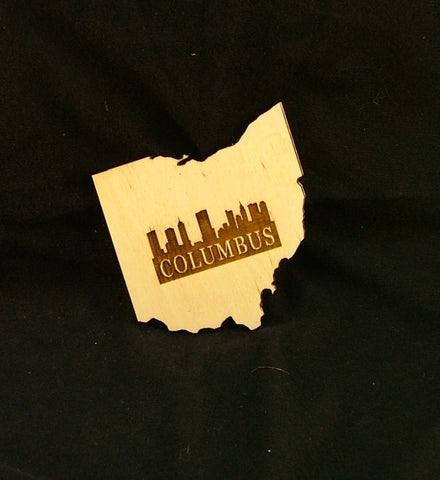 Ohio City Skyline Wood Coaster - Celebrate Local, Shop The Best of Ohio