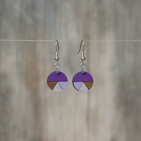 Natural Walnut Fractioned Circle Drop Earring - Celebrate Local, Shop The Best of Ohio