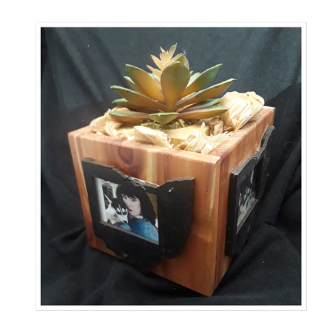 Ohio Four Sided Wood Photo Block with Planter 6 x 6 - Celebrate Local, Shop The Best of Ohio