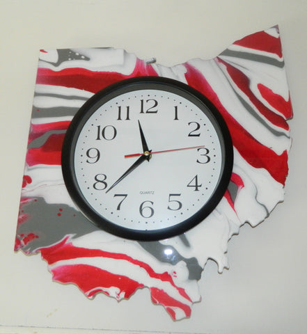 Pour Paint Ohio Clock Scarlet Grey and White 15 in - Celebrate Local, Shop The Best of Ohio