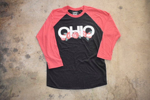 Ohio Black Floral Baseball T-Shirt - Celebrate Local, Shop The Best of Ohio