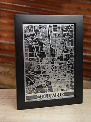 Laser Cut City Map - Columbus, Ohio - 5x7 - Celebrate Local, Shop The Best of Ohio