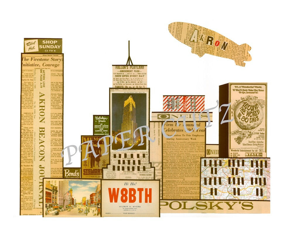 Akron Skyline Vintage Print 11 x 17 - Celebrate Local, Shop The Best of Ohio