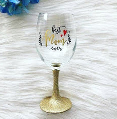Best Mom Ever Glitter Dipped Stemmed Wine Glass - Celebrate Local, Shop The Best of Ohio