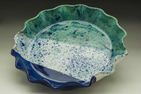 Seascape Hand Thrown Ceramic Fluted Pie Plate - Celebrate Local, Shop The Best of Ohio