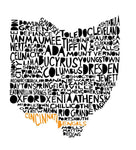 Cincinnati Bengals - State of Ohio Cities Print - 11x14 - Celebrate Local, Shop The Best of Ohio