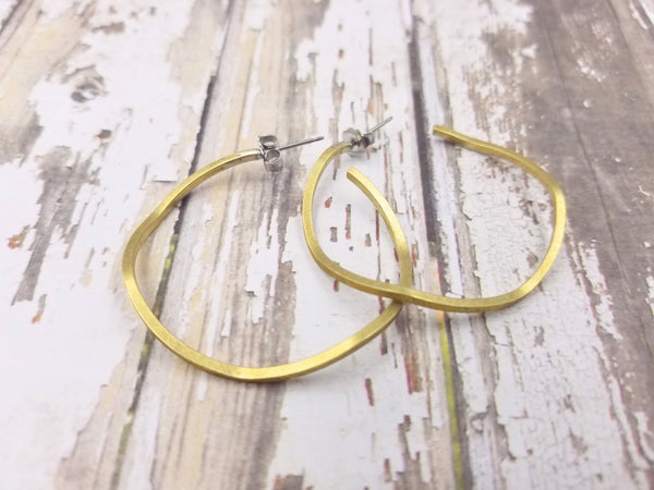 Wavy Brass Hoop Earrings
