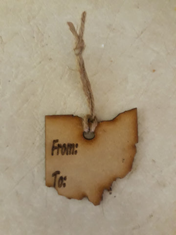 State of Ohio Shape Wood Gift Tags - To/From - Set of 5 - Celebrate Local, Shop The Best of Ohio