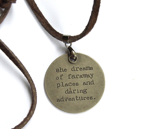 Leather Cord Necklace with Inspirational Charm (Variety of Sayings)