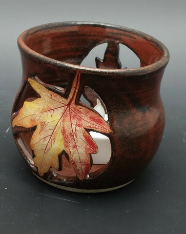 Carved Maple Leaf Hand Thrown Ceramic Candle Holder - Celebrate Local, Shop The Best of Ohio