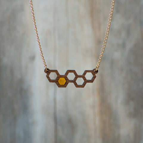 Natural Walnut Honeycomb Necklace with Resin Accent - Celebrate Local, Shop The Best of Ohio