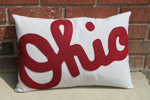Script Ohio Pillow -12x18 Oversized - Celebrate Local, Shop The Best of Ohio