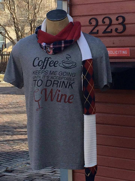 Coffee Keeps Me Going Until Its Acceptable To Drink Wine T- Shirt - Celebrate Local, Shop The Best of Ohio