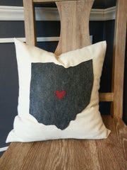 Pillow Cover - Ohio Hometown Love - Celebrate Local, Shop The Best of Ohio