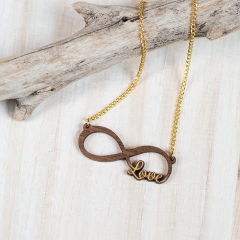 Natural Walnut Infinity Love Necklace
