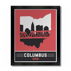 Columbus Skyline Red and Black Print - Celebrate Local, Shop The Best of Ohio