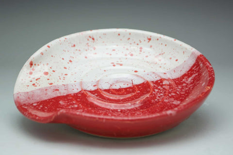 Festive Red and White Speckled Ceramic Spoon Holder - Celebrate Local, Shop The Best of Ohio