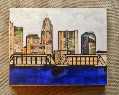 Columbus Skyline Wood Print 8x10 - Celebrate Local, Shop The Best of Ohio - 1