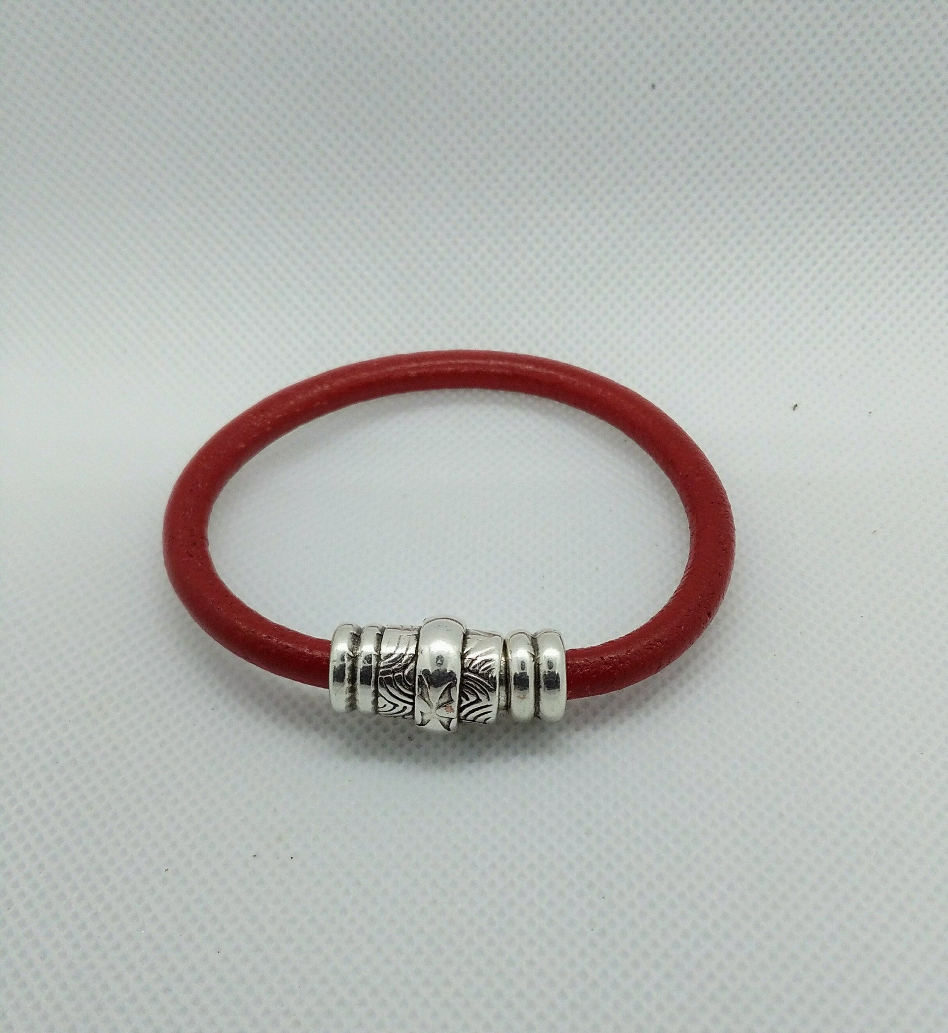 Carved Silver and Leather Bracelet Red - Celebrate Local, Shop The Best of Ohio