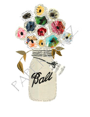 Mason Jar Flower Bouquet Vase Vintage Print 8 x 10 - Celebrate Local, Shop The Best of Ohio
