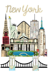 New York Skyline Vintage Print 11 x 17 - Celebrate Local, Shop The Best of Ohio