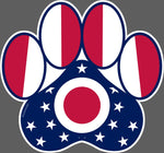 Dog Paw Ohio State Flag Vinyl Decal - Celebrate Local, Shop The Best of Ohio