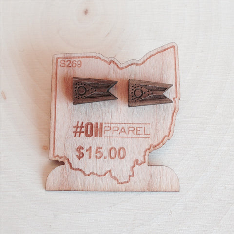 State of Ohio Flag Earrings - Walnut Wood - Celebrate Local, Shop The Best of Ohio