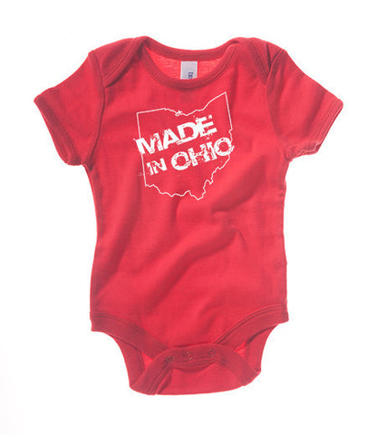 Made in Ohio Onesie -Red - Celebrate Local, Shop The Best of Ohio