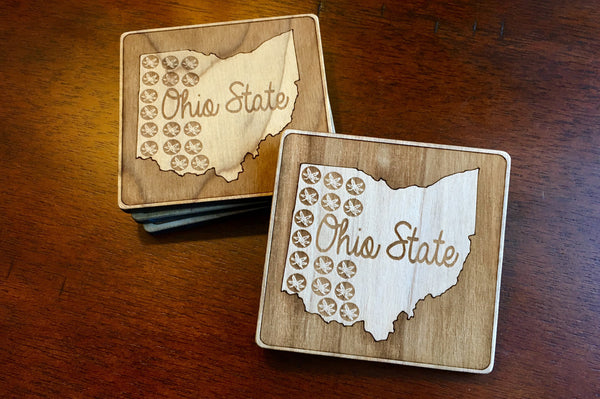 Ohio Themed Wood Coasters - Single (Various Styles) - Celebrate Local, Shop The Best of Ohio - 4