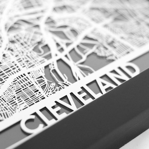 Laser Cut City Map - Cleveland 5x7 - Celebrate Local, Shop The Best of Ohio - 2