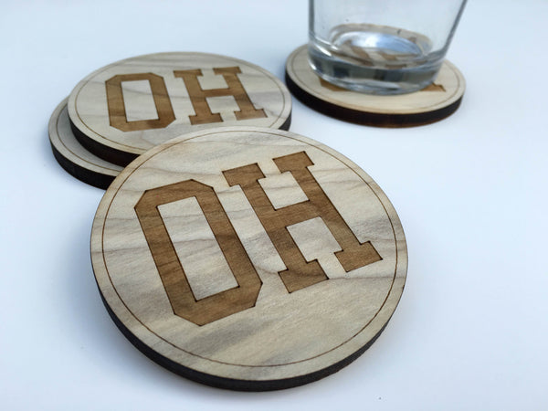 Ohio Themed Wood Coasters - Single (Various Styles) - Celebrate Local, Shop The Best of Ohio - 3