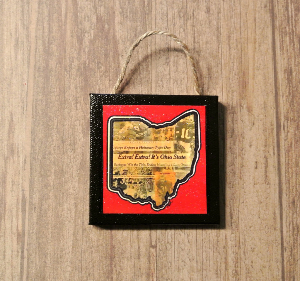 OSU Mini Canvas Ornament - Mixed Media - Celebrate Local, Shop The Best of Ohio