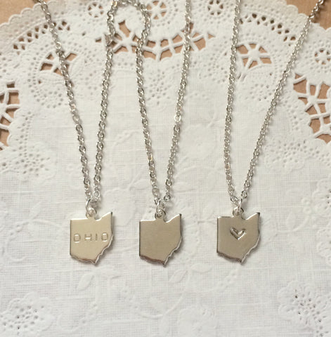 Silver Ohio Necklace - Heart Stamped - Celebrate Local, Shop The Best of Ohio
