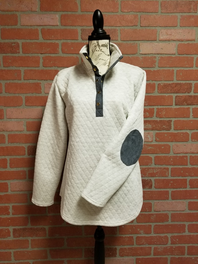 8f10035b707 Ivory Quilted Pullover Tunic with Charcoal