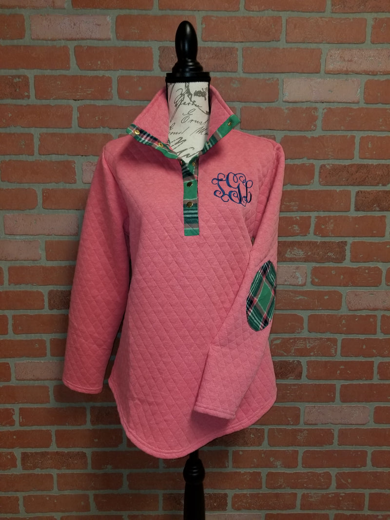 d7e94a54338 Coral Quilted Pullover Tunic with Plaid