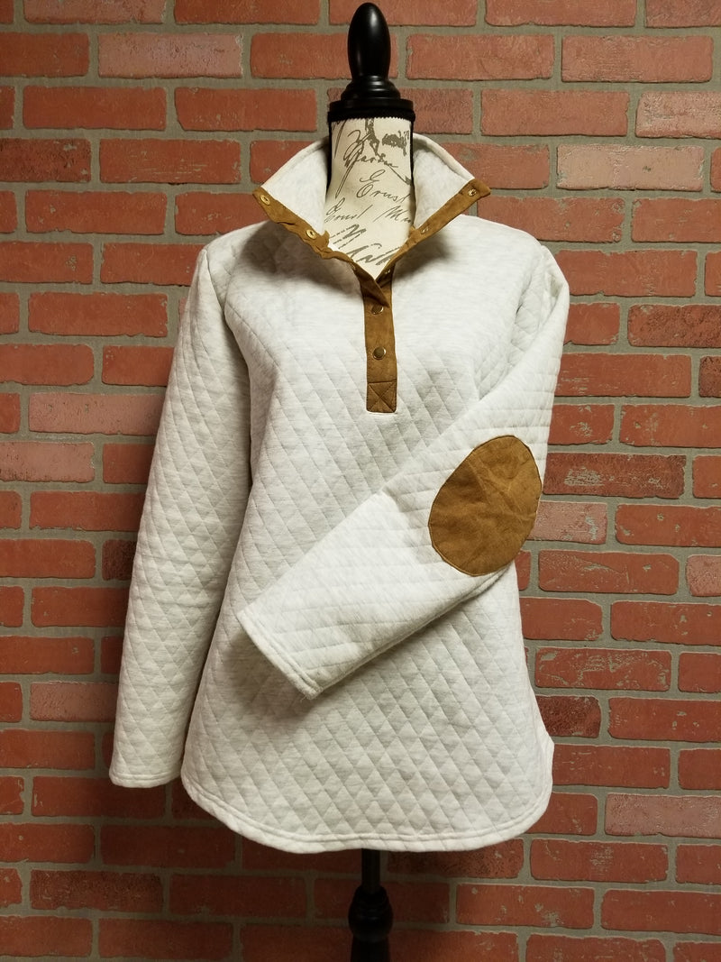 c16bb31e14c Ivory Quilted Pullover Tunic with Mocha