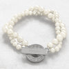 Ivory Personalized Pearl Bracelet with Rhinestone Toggle - Upward Mark