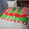 Elf Shoes Personalized Fleece Christmas Blanket