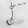 Personalized Double Heart Lariat Necklace - Upward Mark