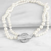 Ivory Personalized Pearl Necklace with Rhinestone Toggle - Upward Mark